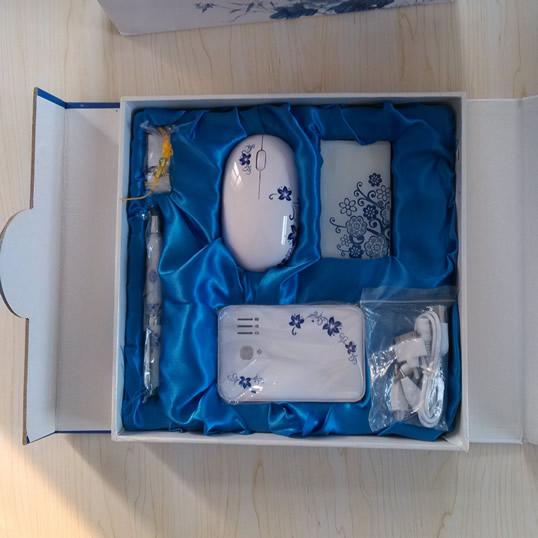高档青花瓷5件套—移动电源、青花瓷U盘、青花瓷名片盒、青花瓷笔、无线鼠标