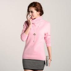 女式高领纯羊绒衫堆堆领毛衣