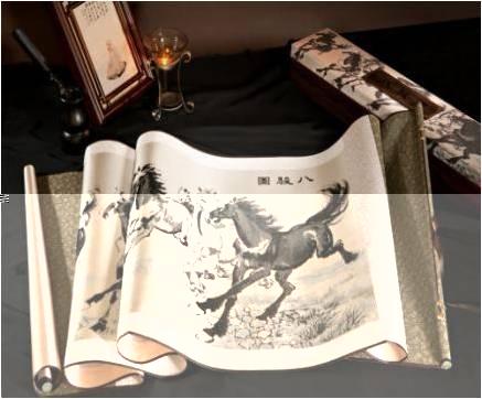 真丝织锦画《八骏图》