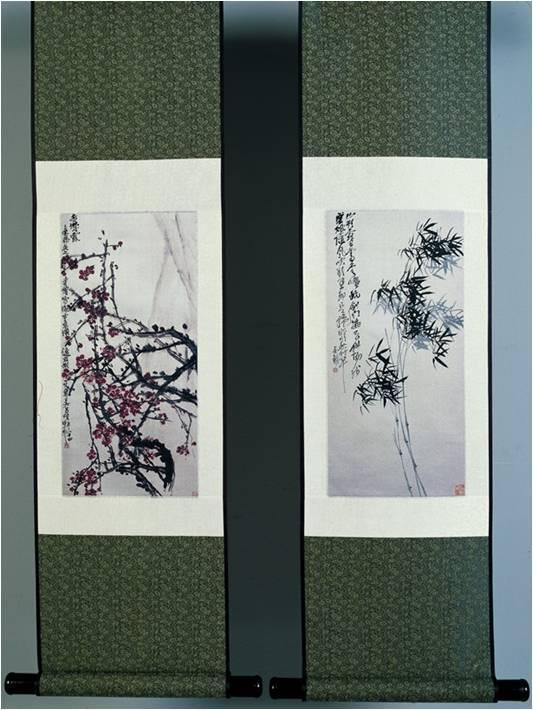 真丝织锦立轴吴昌硕《梅、兰、竹、菊》