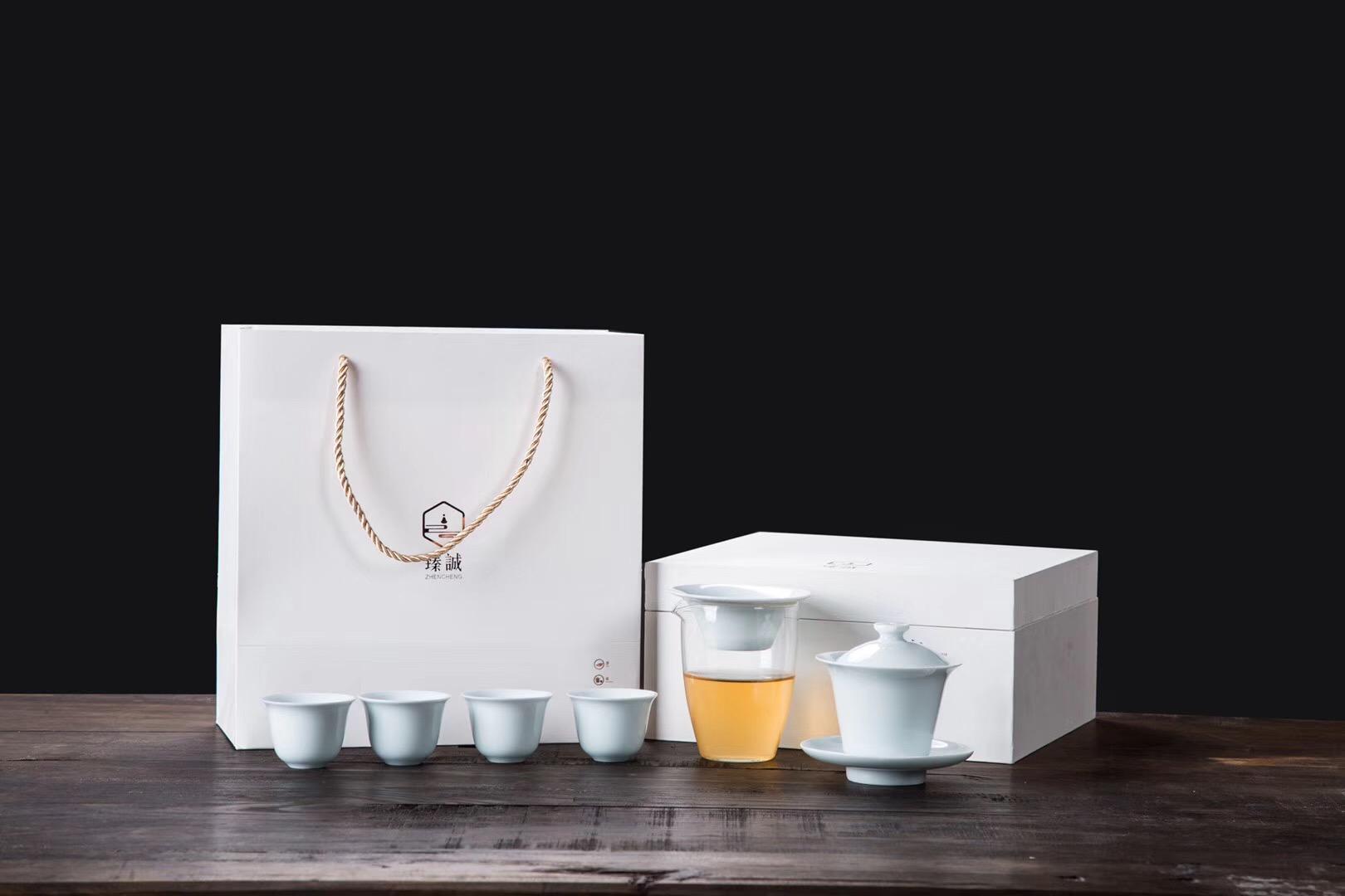青瓷玻璃简约功夫茶具旅行套装简约家用日式三才盖碗茶杯礼盒送礼